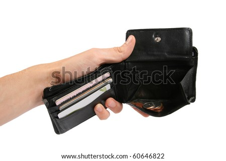 money wallet in the hand - stock photo