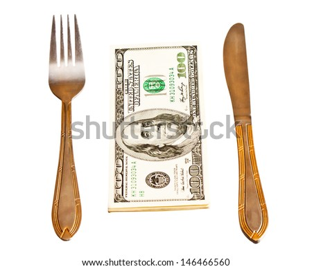Money with fork and knife, isolated on white background  - stock photo