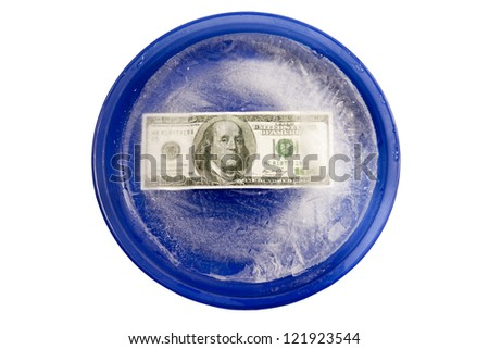 Money With Freezer Burn On A Blue Plate. XXXL - stock photo