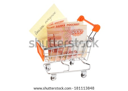 Money with list of purchases in shopping cart isolated on white background - stock photo