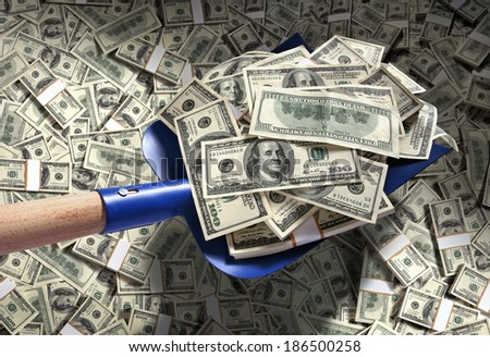 Money with shovel / studio photography of American moneys of hundred dollar  - stock photo