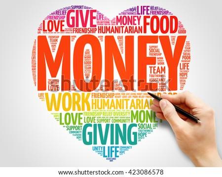 Money word cloud, heart concept - stock photo