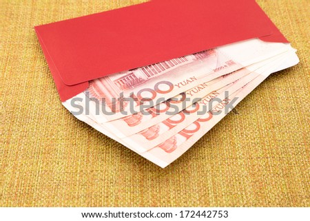 money yuan cash banknote and red envelope, celebrate chinese new year and asian culture
