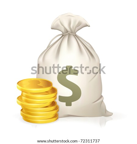 Moneybag and coin, bitmap copy - stock photo