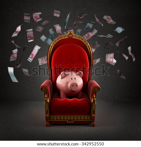 Moneybox pig on the royal throne in the room with falling euro banknotes - stock photo