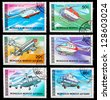 MONGOLIA - CIRCA 1987: A set of postage stamps printed in MONGOLIA shows helicopters, series, circa 1987 - stock photo