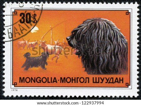 MONGOLIA - CIRCA 1978: a stamp from Mongolia with value of 30 togrog shows image of the puli breed of dog, circa 1978 - stock photo