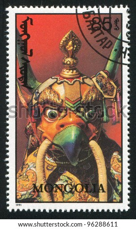 MONGOLIA - CIRCA 1991 A stamp printed by Mongolia, shows traditional mask, circa 1991