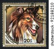 MONGOLIA - CIRCA 1984: A stamp printed in MONGOLIA shows  a  Collie, series Breed of dogs, circa 1984 - stock photo