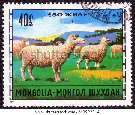 MONGOLIA - CIRCA 1971: A stamp printed in Mongolia shows a flock of sheep, circa 1971 - stock photo