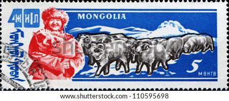 MONGOLIA - CIRCA 1961: A stamp printed in Mongolia shows Animal Husbandry, Rams, circa 1961 - stock photo