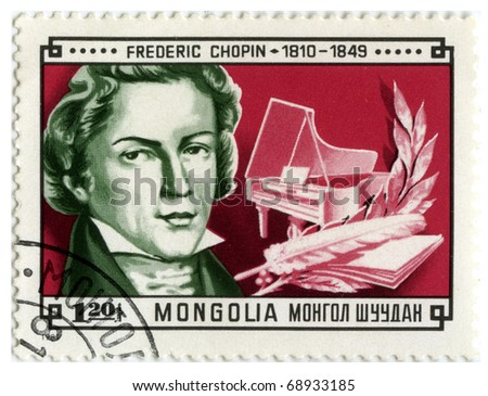 MONGOLIA - CIRCA 1981: A stamp printed in Mongolia shows image of the famous composer Frederic Chopin, series, circa 1981