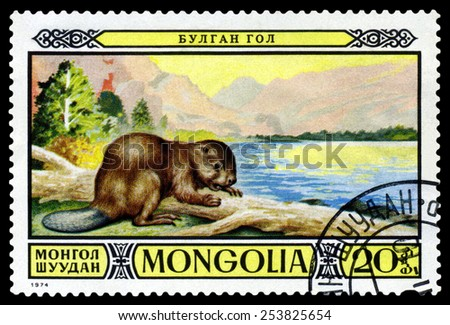 MONGOLIA - CIRCA 1974: A stamp printed in Mongolia shows  Mongolian Beaver., Protected fauna in Mongolian wildlife preserves,  circa 1974 - stock photo