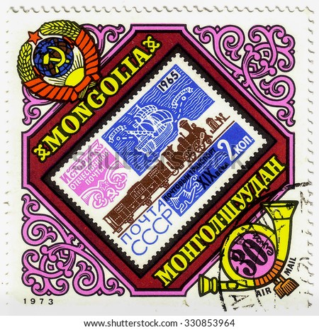 MONGOLIA - CIRCA 1973: A stamp printed in Mongolia shows post stamp USSR 1965 with postal of transportation, circa 1973 - stock photo