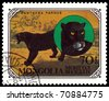 MONGOLIA - CIRCA 1979: A stamp printed in Mongolia shows wild cats Black panthers, series, circa 1979 - stock photo