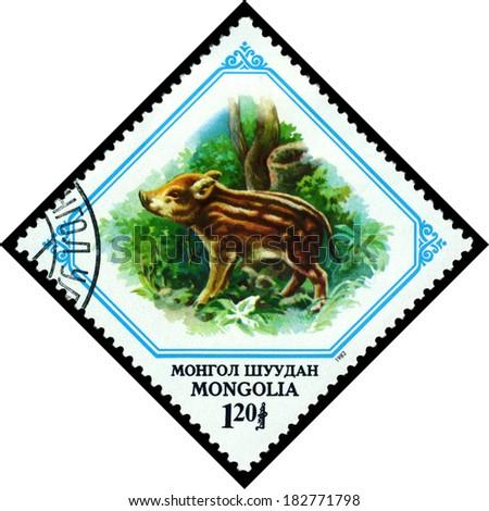 MONGOLIA - CIRCA 1982: A stamp printed in Mongolia shows  Young boar, circa 1982 - stock photo