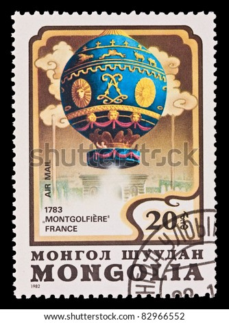 MONGOLIA - CIRCA 1982: A stamp printed in the Mongolia, shows Balloon Montgolfiere France 1783, circa 1982