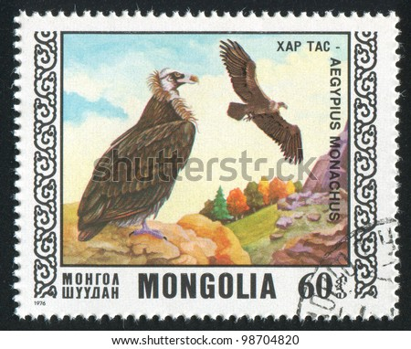 MONGOLIA - CIRCA 1976: stamp printed by Mongolia, shows bird, Black vulture, circa 1976