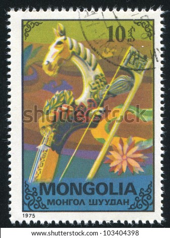 MONGOLIA - CIRCA 1975: stamp printed by Mongolia, shows neck and bow of musical instrument, circa 1975