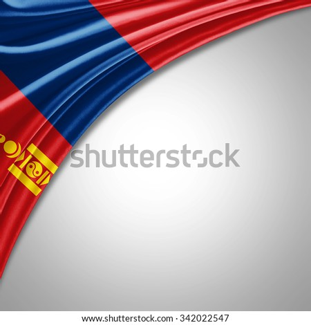 Mongolia flag   of  silk with copyspace for your text or images