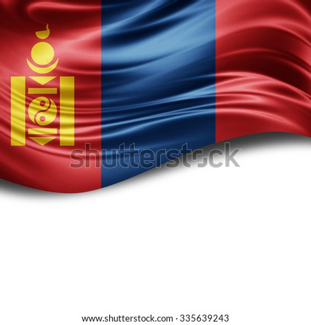 Mongolia flag of silk with copyspace for your text or images and White background