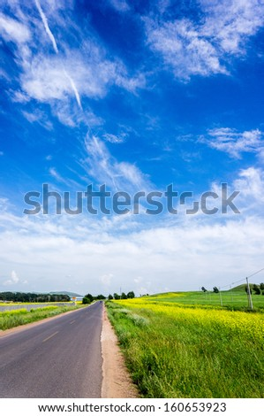 Mongolia grassland and the blue sky