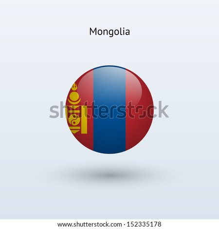 Mongolia round flag on gray background. See also vector version.