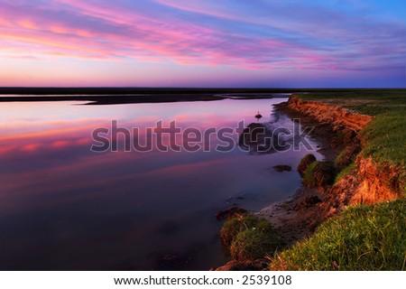 Mongolia sunset - stock photo