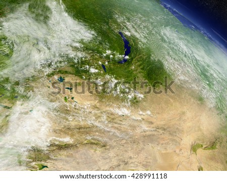 Mongolia with surrounding region as seen from Earth's orbit in space. 3D illustration with highly detailed planet surface and clouds in the atmosphere. Elements of this image furnished by NASA. - stock photo