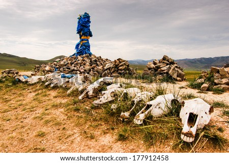 Mongolian stone shrine (ovoo) with ceremonial prayer flags (khadag) and horse skulls - stock photo