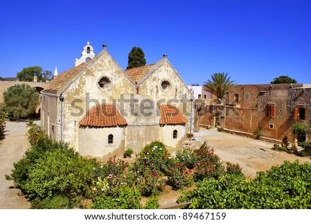 Moni Arkadiou monastery at Crete, Greece - stock photo