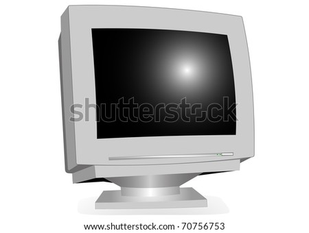 Monitor CRT illustration on a white background - stock photo