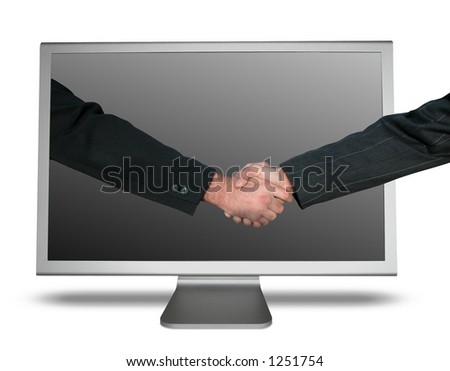 Monitor Handshake - stock photo