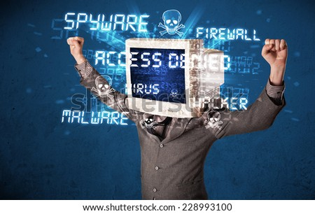 Monitor head person with hacker type of signs on the blue screen - stock photo