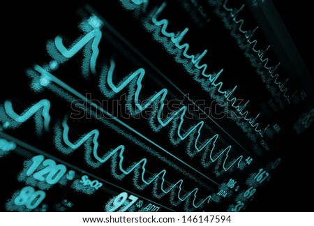 Monitor in medicine. Abstract medical background. Monochrome. - stock photo