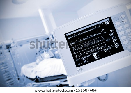 monitor in the ICU ward - stock photo