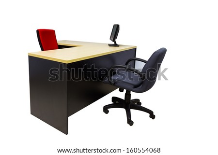 Monitor on desk at modern office in white with clipping path - stock photo