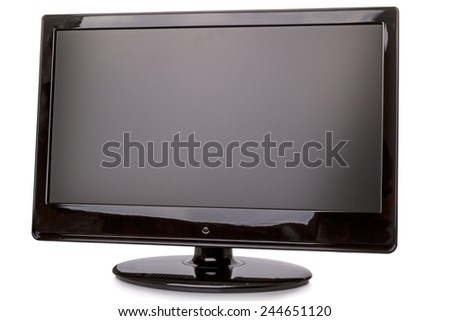 Monitor or TV isolated on white background - stock photo