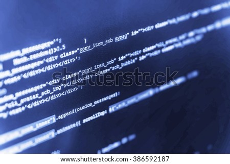 Monitor photo. Developer working on program codes in office. Computer script.  Computer program. Technology background. (Code is my own property there is no risk of copyright violations)