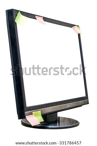 monitor screen with stickers isolated on a white background