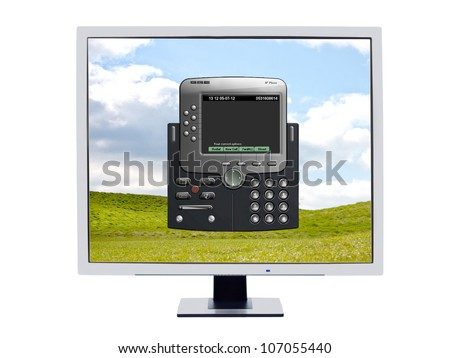 Monitor showing  a softphone software application which is used instead of having a hardware IP phone for voip technology which is operated from the computer by using the keyboard and a headset - stock photo