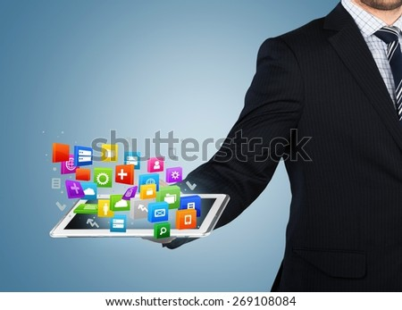 Monitor. Touch screen ,touch- tablet in hands - stock photo