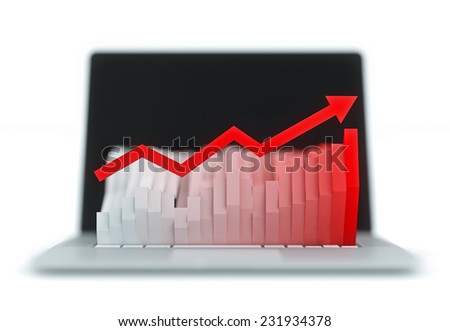 Monitor which shows a graph of the keyboard. Graph with a red arrow white background