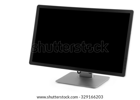 monitor with a black screen on a white background isolated
