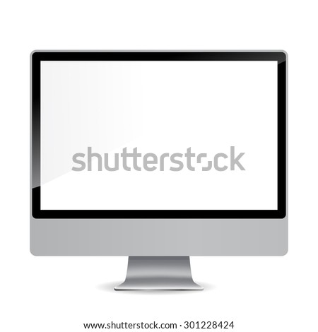 Monitor with a shadow on a gray background illustration
