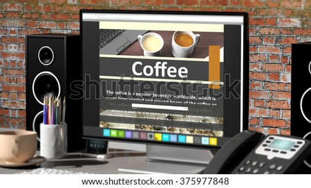 Monitor with Coffee information on desktop with office objects.