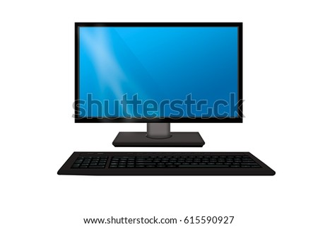 Monitor with keyboard . Computer isolated on a white background