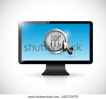 monitor with pay per click button. ppc concept illustration design - stock photo