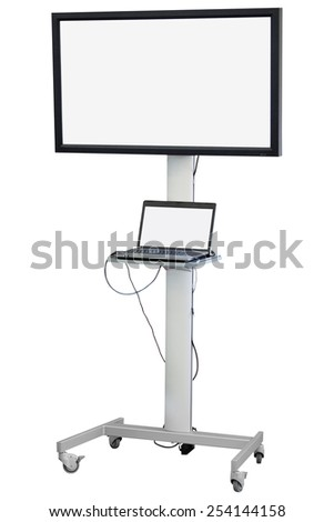 monitor with stand isolated under the white background