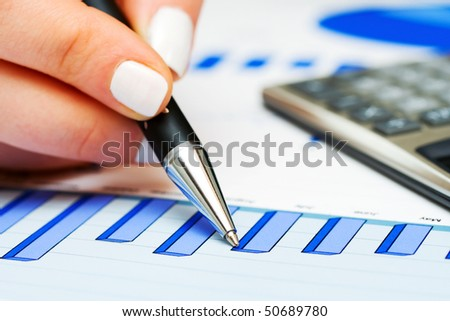Monitoring of business charts. - stock photo
